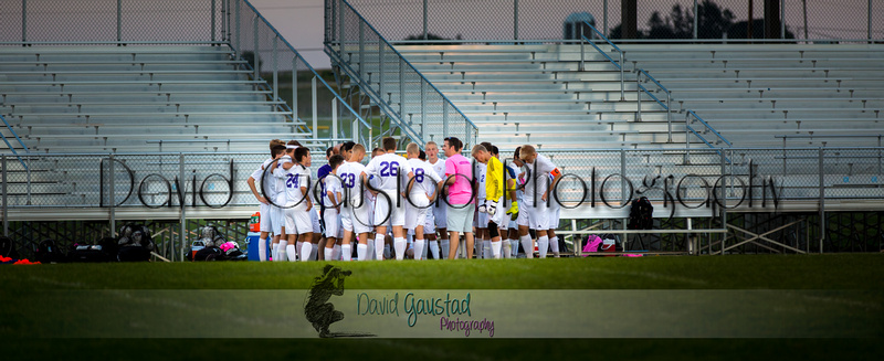 Picture of team huddle from the DeForest Norski Varsity boy's soccer Fall 2015 game vs Mt Horeb at DMB Community Bank Stadium